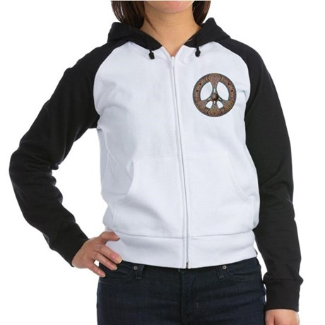 Peace Sign (Gold) Women's Raglan Hoodie