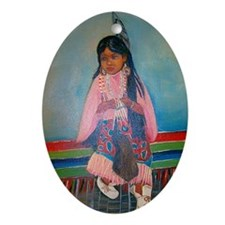 American Indian Girl in Pink Oval Ornament