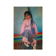 American Indian Girl in Pink Rectangle Magnet