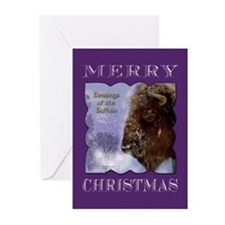 Buffalo in Winter Christmas Greeting Cards (Pk of