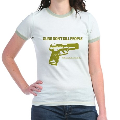 Guns Don't Kill People Jr. Ringer T-Shirt