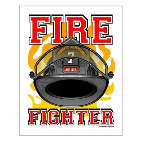 Fire Fighter - Black Helmet Small Poster