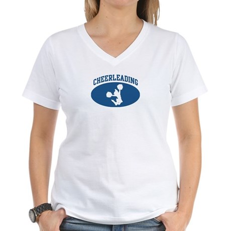 Cheerleading (blue circle) Women's V-Neck T-Shirt