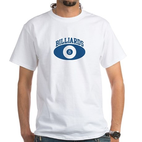 Billiards (blue circle) White T-Shirt