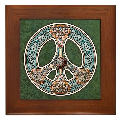 Knotwork Peace Sign Framed Tile