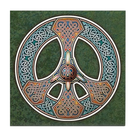 Knotwork Peace Symbol Tile Coaster