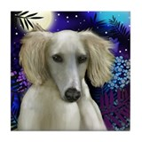 SALUKI DOG MOON Tile Coaster