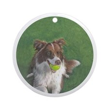 Border Collie Brown & White Ornament (Round)