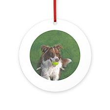 Border Collie Brown & White Ornament (Round)