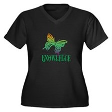 KNOWLEDGE Women's Plus Size V-Neck Dark T-Shirt
