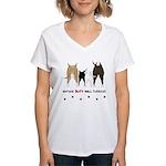 Nothin' Butt Bull Terriers Women's V-Neck T-Shirt