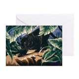 Panther Black Satin Greeting Cards (Pk of 20)