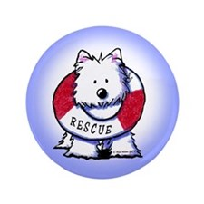 "Rescue Westie 3.5"" Button"