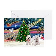 Xmas Magic & 2 Westies Greeting Card