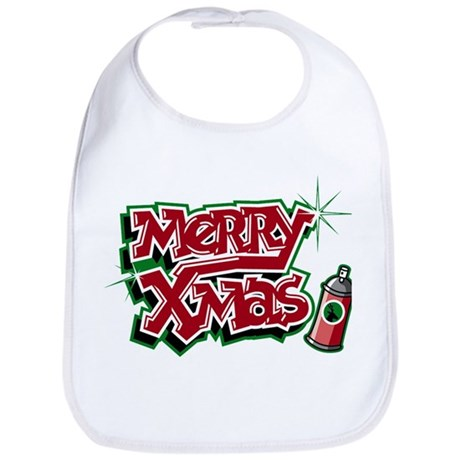 Merry Christmas Graffiti Bib