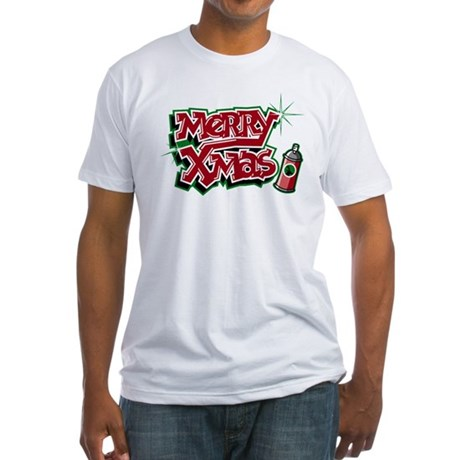 Merry Christmas Graffiti Fitted T-Shirt
