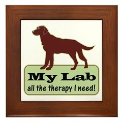 Chocolate Lab Therapy - Framed Tile