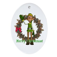 Elf Oval Ornament