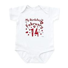 Valentine Feb. 14th Birthday Infant Bodysuit