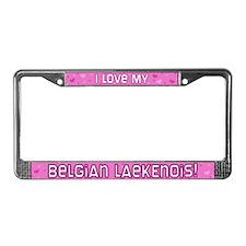 Pink Plk Dot Belgian Laekenois License Plate Frame