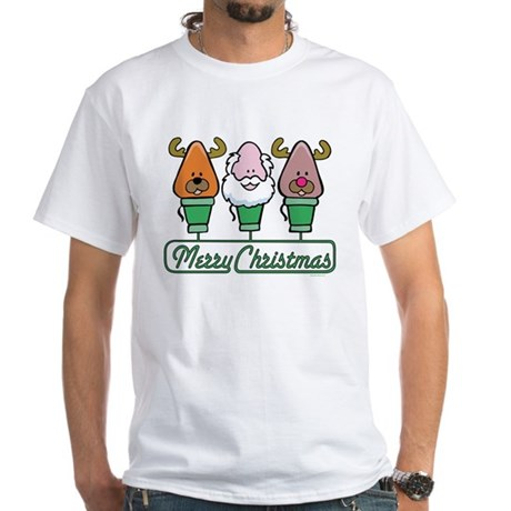 MERRY CHRISTMAS Light Trio White T-Shirt