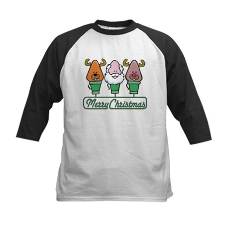MERRY CHRISTMAS Light Trio Kids Baseball Jersey