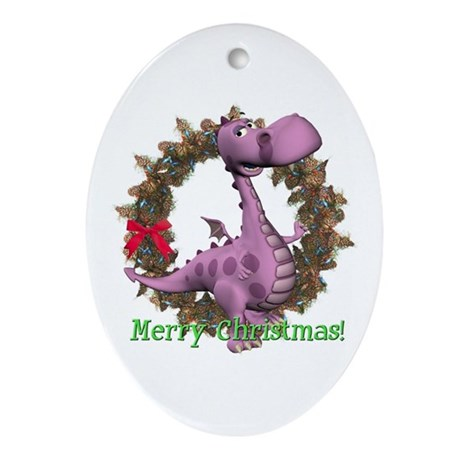 Dusty Dragon Oval Ornament