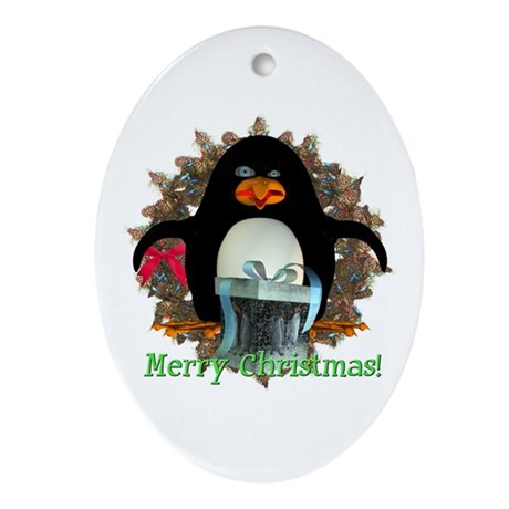 Pongo Penguin Oval Ornament