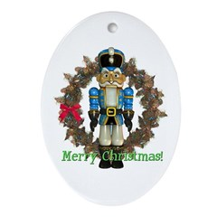 Nutcracker (Blue) Oval Ornament