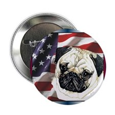 "Pug Dog 2.25"" USA Flag Button (10 pack)"
