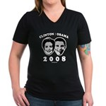 Clinton / Obama 2008 Women's V-Neck Dark T-Shirt