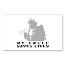 Firefighter Uncle Saves Lives Sticker (Rectangular