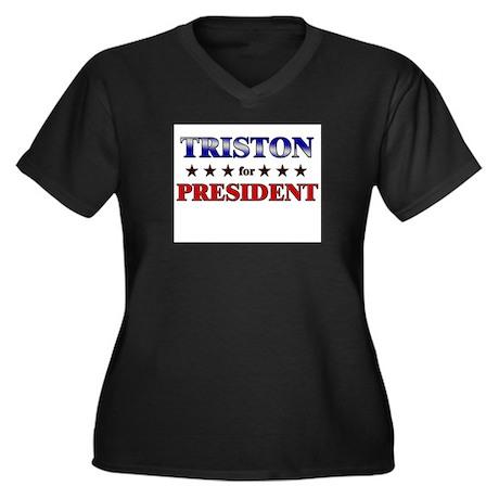 TRISTON for president Women's Plus Size V-Neck Dar