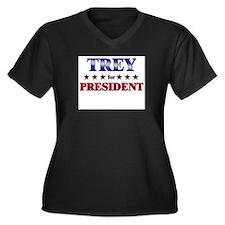 TREY for president Women's Plus Size V-Neck Dark T