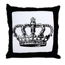 Black Crown Throw Pillow
