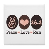 Peace Love Run 26.2 Marathon Tile Coaster
