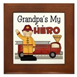 Grandpas My Hero Firefighter Framed Tile