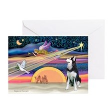 XmasStar/Siberian Husky Greeting Cards (Pk of 20)