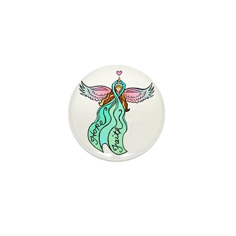Teal Ribbon Angel Mini Button (10 pack)
