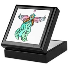 Teal Ribbon Angel Keepsake Box