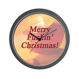 Merry Fuckin' Christmas Wall Clock