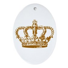 Brown Crown Oval Ornament