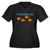 I believe in fish Women's Plus Size V-Neck Dark T-