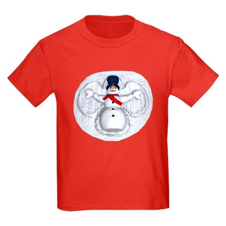 Snowman Snow Angel Kids Dark T-Shirt