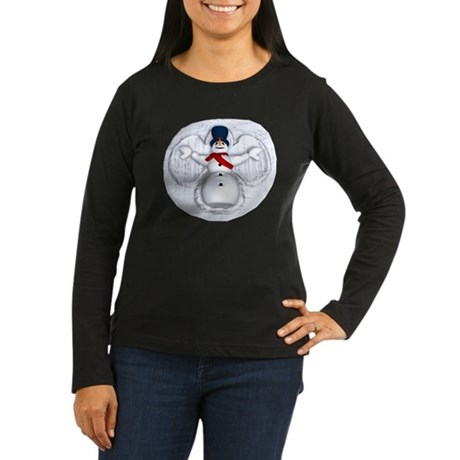 Snowman Snow Angel Women's Long Sleeve Dark T-Shir