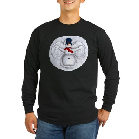 Snowman Snow Angel Long Sleeve Dark T-Shirt