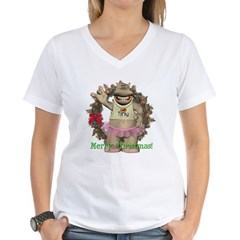 Heather Hippo Women's V-Neck T-Shirt