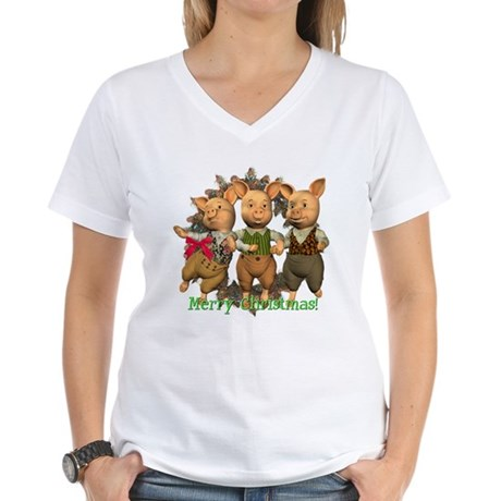 The Three Little Pigs Women's V-Neck T-Shirt