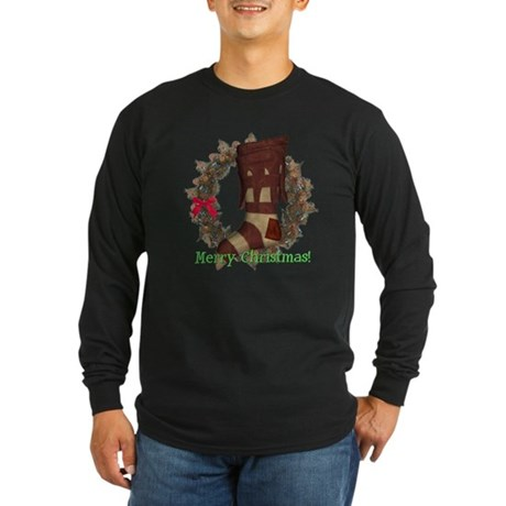 Christmas Stocking Long Sleeve Dark T-Shirt