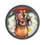 Dachshund Daisy Patch Wall Clock